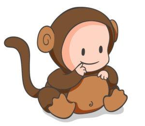 baby in a monkey onesie